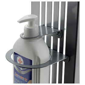 Adjustable hand disinfectant dispenser stand in metal, for outdoor use s7