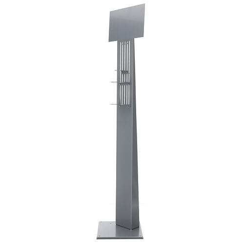 Adjustable hand disinfectant dispenser stand in metal, for outdoor use 1