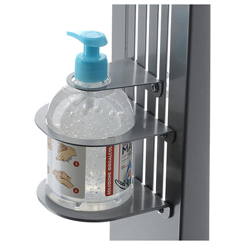 Adjustable hand disinfectant dispenser stand in metal, for outdoor use 2