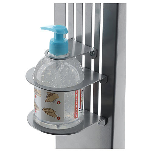 Adjustable hand disinfectant dispenser stand in metal, for outdoor use 6