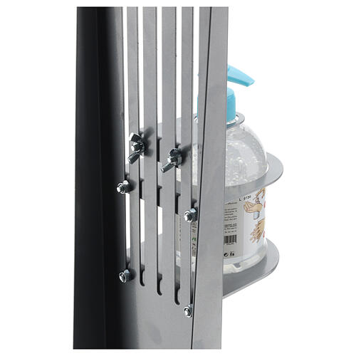 Adjustable hand disinfectant dispenser stand in metal, for outdoor use 8