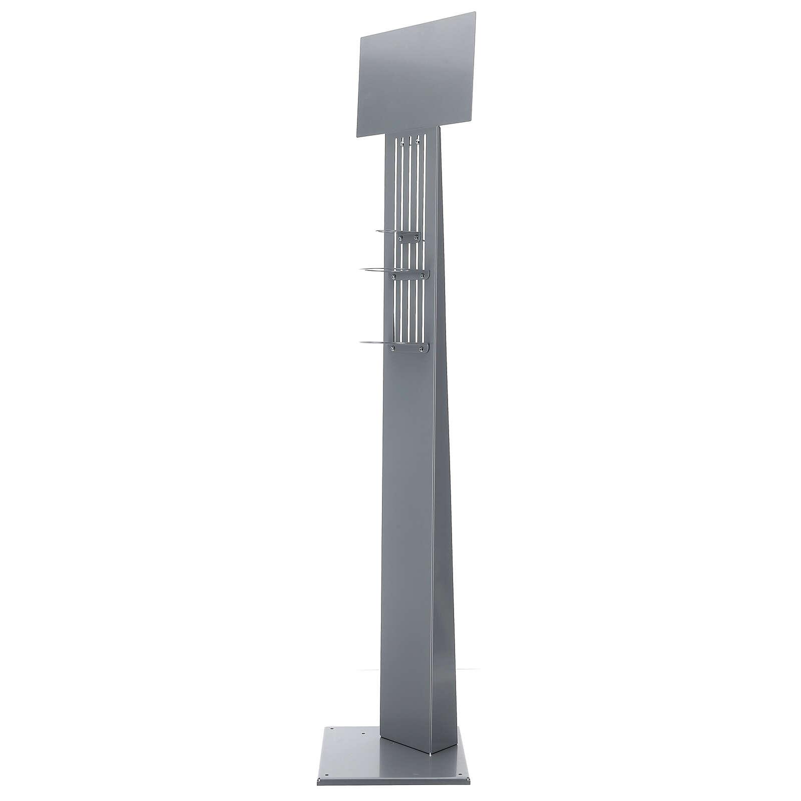 Porta dispenser gel igienizzante regolabile metallo PER ESTERNI 3