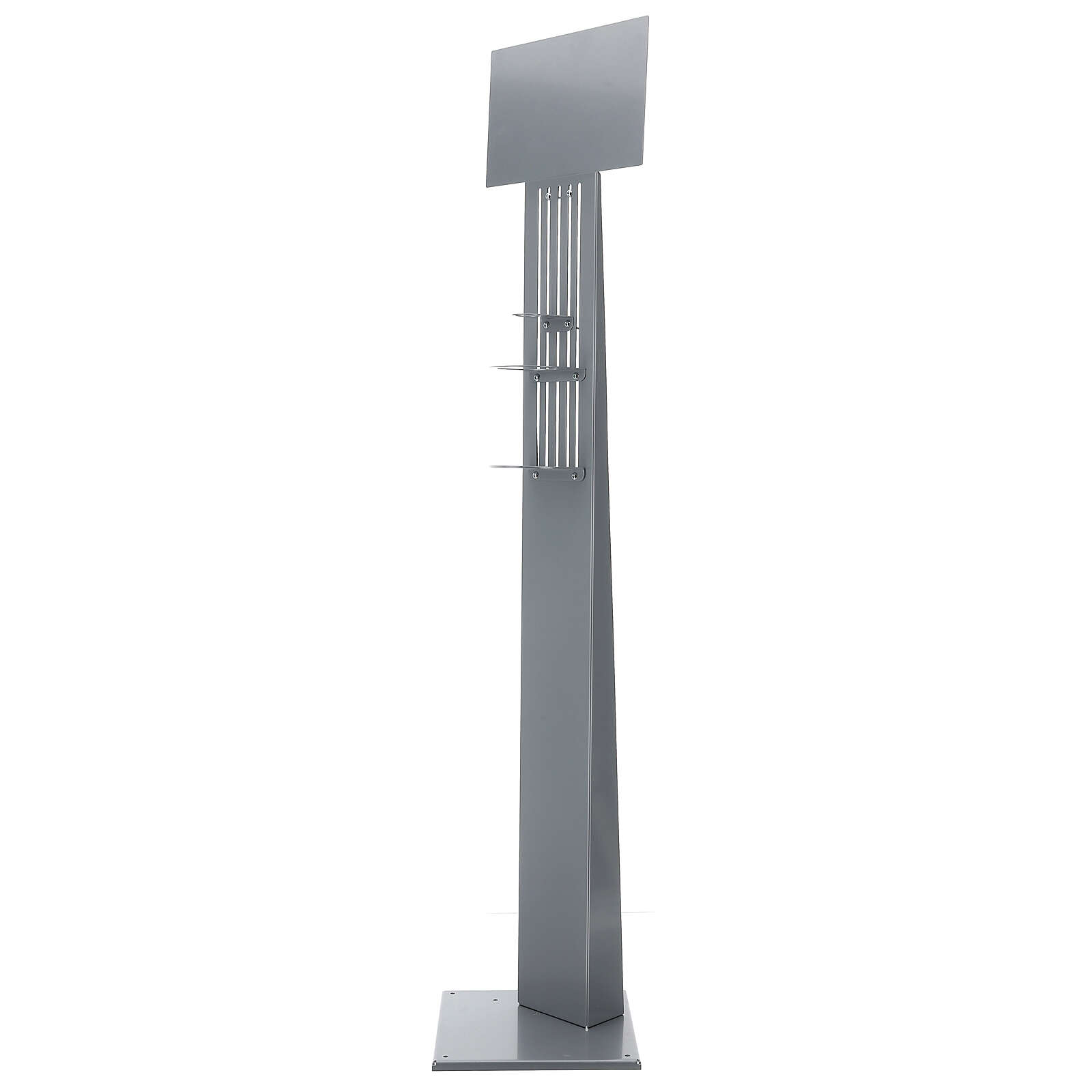 Coluna estação de desinfeção em metal regulável para distribuidor de gel desinfetante para mãos EXTERIOR 3