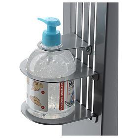 Coluna estação de desinfeção em metal regulável para distribuidor de gel desinfetante para mãos EXTERIOR s2