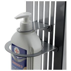 Coluna estação de desinfeção em metal regulável para distribuidor de gel desinfetante para mãos EXTERIOR s7