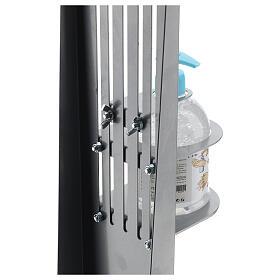 Coluna estação de desinfeção em metal regulável para distribuidor de gel desinfetante para mãos EXTERIOR s8