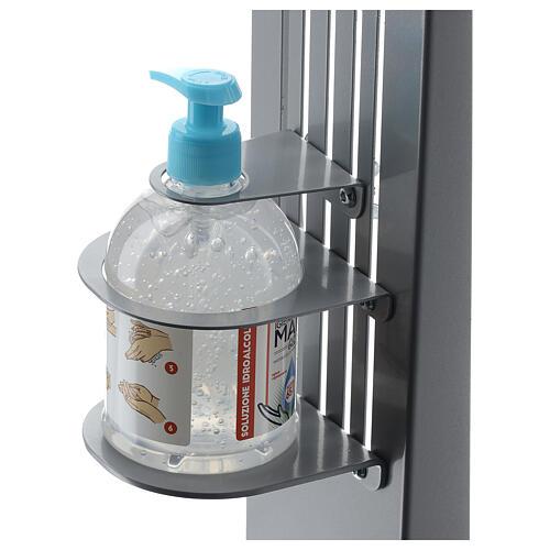 Coluna estação de desinfeção em metal regulável para distribuidor de gel desinfetante para mãos EXTERIOR 2