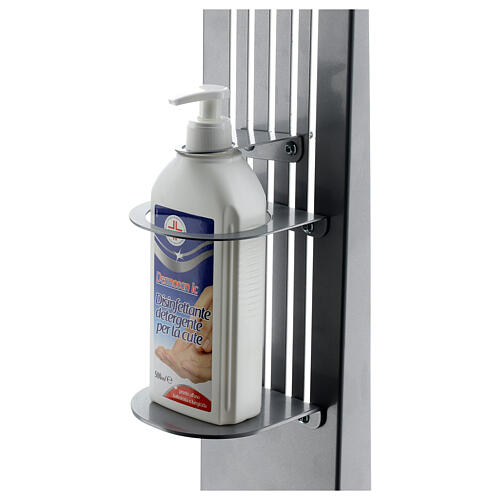 Coluna estação de desinfeção em metal regulável para distribuidor de gel desinfetante para mãos EXTERIOR 4