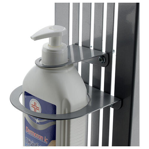 Coluna estação de desinfeção em metal regulável para distribuidor de gel desinfetante para mãos EXTERIOR 7