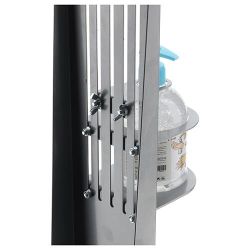 Coluna estação de desinfeção em metal regulável para distribuidor de gel desinfetante para mãos EXTERIOR 8