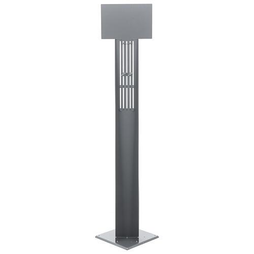 Coluna estação de desinfeção em metal regulável para distribuidor de gel desinfetante para mãos EXTERIOR 9