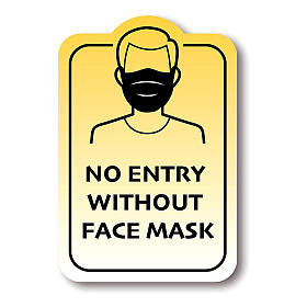 NO ENTRY WITHOUT FACE MASK removable stickers 4 pcs s1