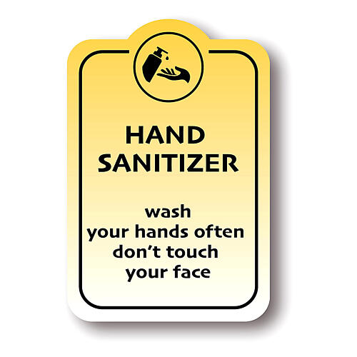 HAND SANITISER WASH YOUR HANDS removable stickers 4 pcs 1
