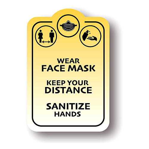 Removable stickers 4 PIECES - WEAR FACE MASK KEEP YOUR DISTANCE 1