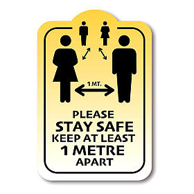 Removable stickers 4 PIECES - PLEASE STAY SAFE KEEP 1 METER APART s1