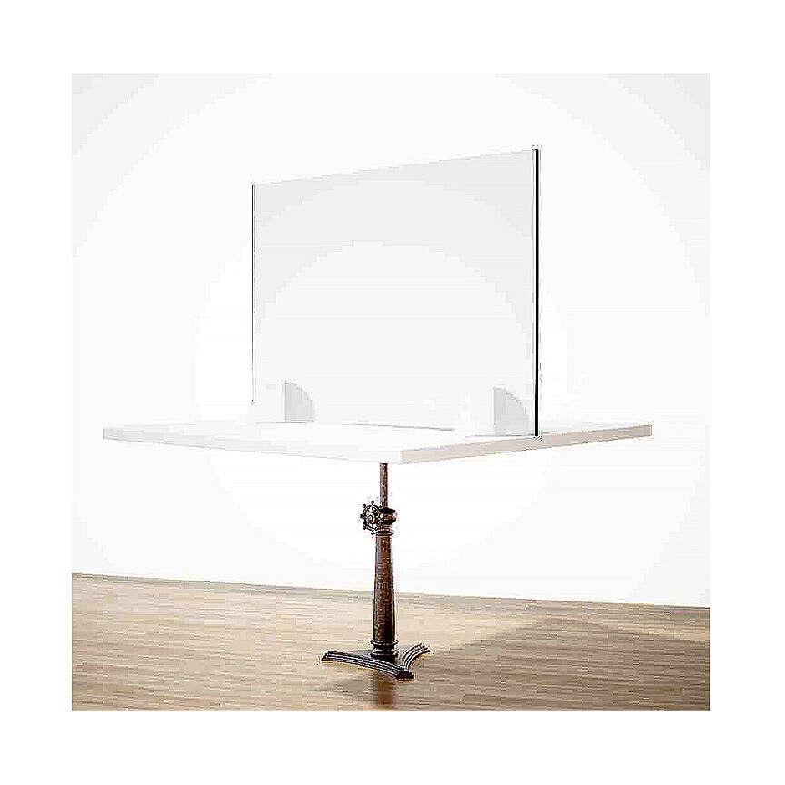 Panel anti-aliento de mesa línea Wood h 65x90 cm plexiglás y madera 3