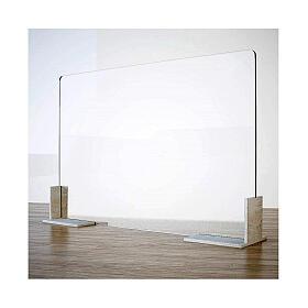 Panel anti-aliento de mesa línea Wood h 65x90 cm plexiglás y madera s1