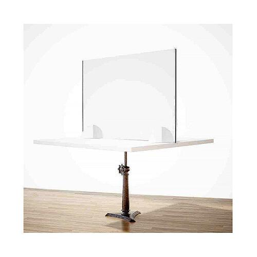 Panel anti-aliento de mesa línea Wood h 65x90 cm plexiglás y madera 2