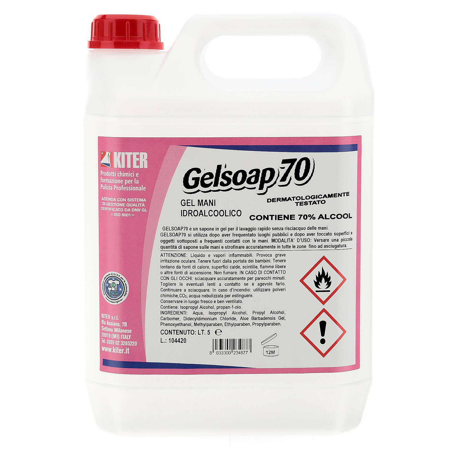 Disinfettante mani Gelsoap70 5 Litri - Refill 3