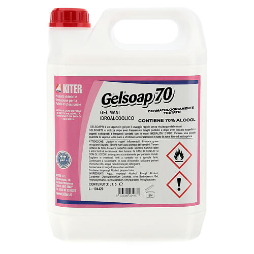 Hand sanitizer gel Gelsoap70 5 Liters- Refill 1