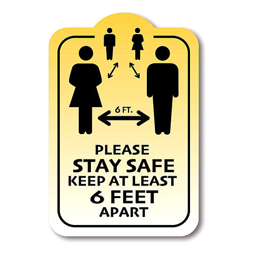 Removable stickers 4 pcs, STAY SAFE KEEP 6 FEET APART 1