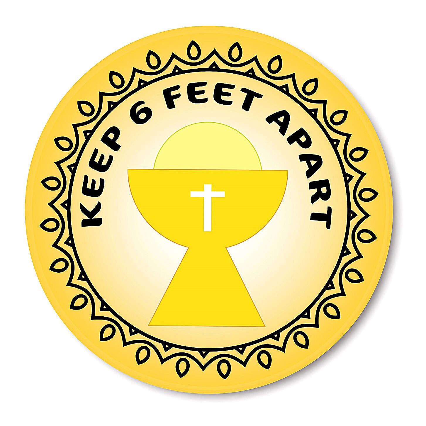 KEEP 6 FEET APART CHALICE removable stickers 6 pcs 3