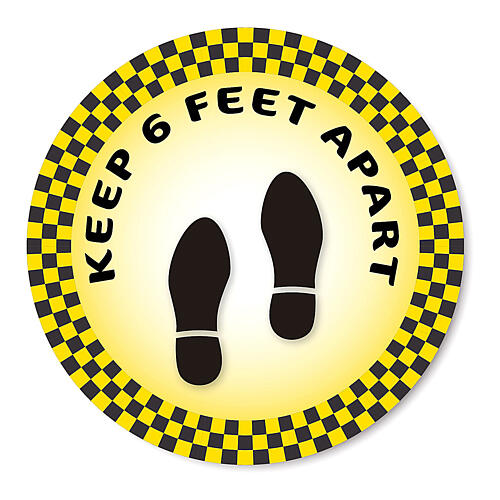 KEEP 6 FEET APART removable stickers 2 pcs, 19 cm diameter 1