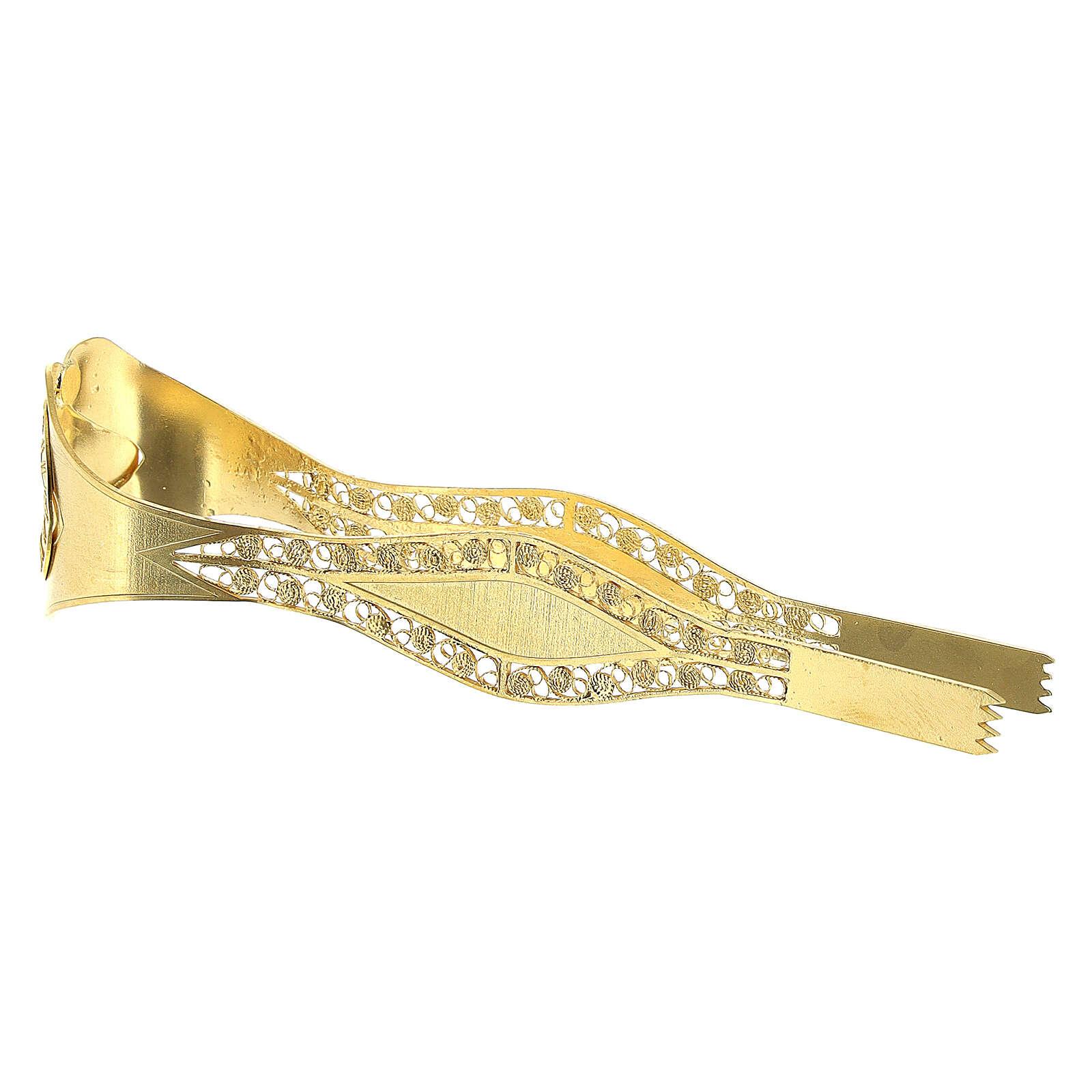 Pinzas Eucarística doradas filigrana plata 925 cruz 3