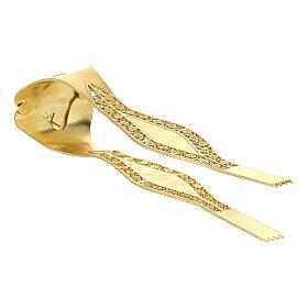 Pinzas Eucarística doradas filigrana plata 925 cruz s3