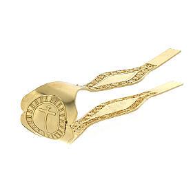 Pinzas Eucarística doradas filigrana plata 925 cruz s6