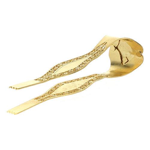 Pinzas Eucarística doradas filigrana plata 925 cruz 1