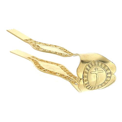 Pinzas Eucarística doradas filigrana plata 925 cruz 5