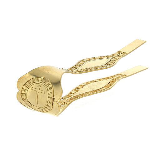 Pinzas Eucarística doradas filigrana plata 925 cruz 6