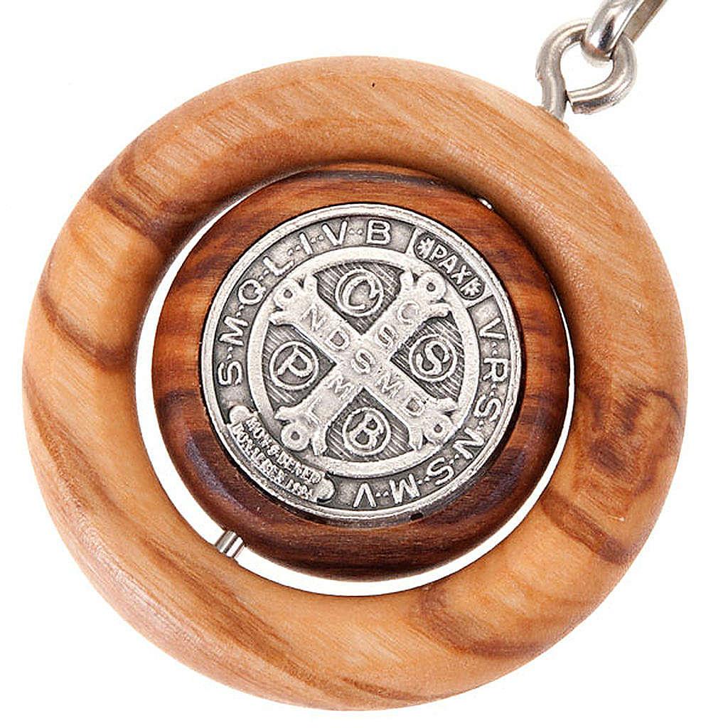Portachiavi medaglia girevole san Benedetto 3