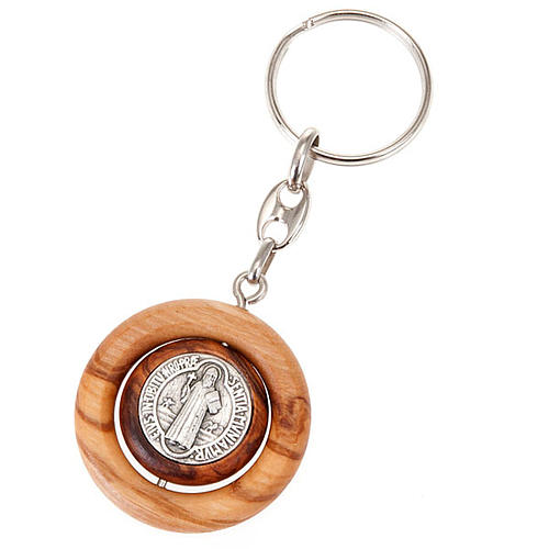 Portachiavi medaglia girevole san Benedetto 1