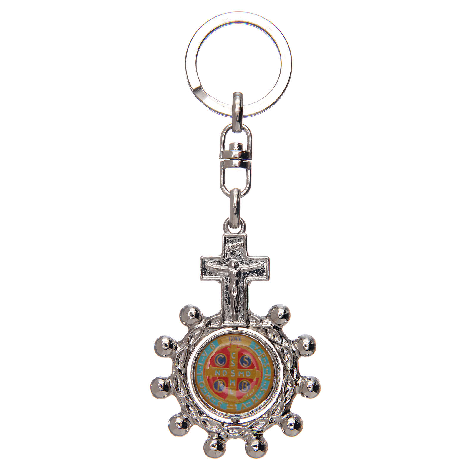Keyring with swivelling one decade rosary, Saint Benedict 3