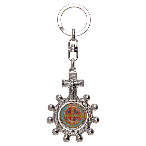 Keyring with swivelling one decade rosary, Saint Benedict 2