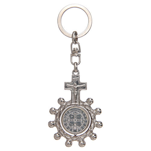 Keychain with swivelling one decade rosary, Saint Benedict 2