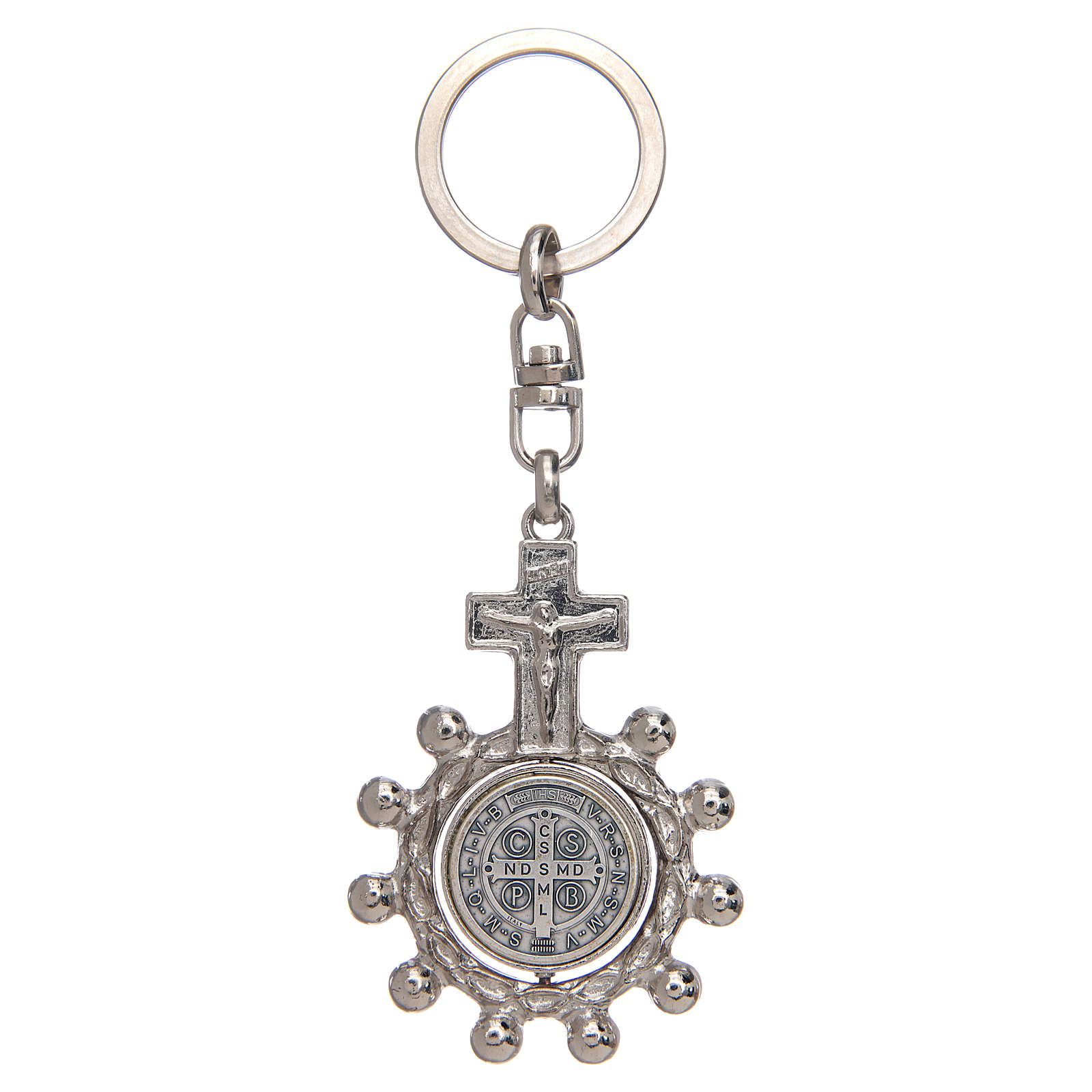 Keychain with swivelling one decade rosary, Saint Benedict 3