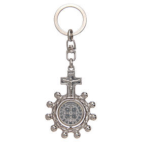 Keychain with swivelling one decade rosary, Saint Benedict s2