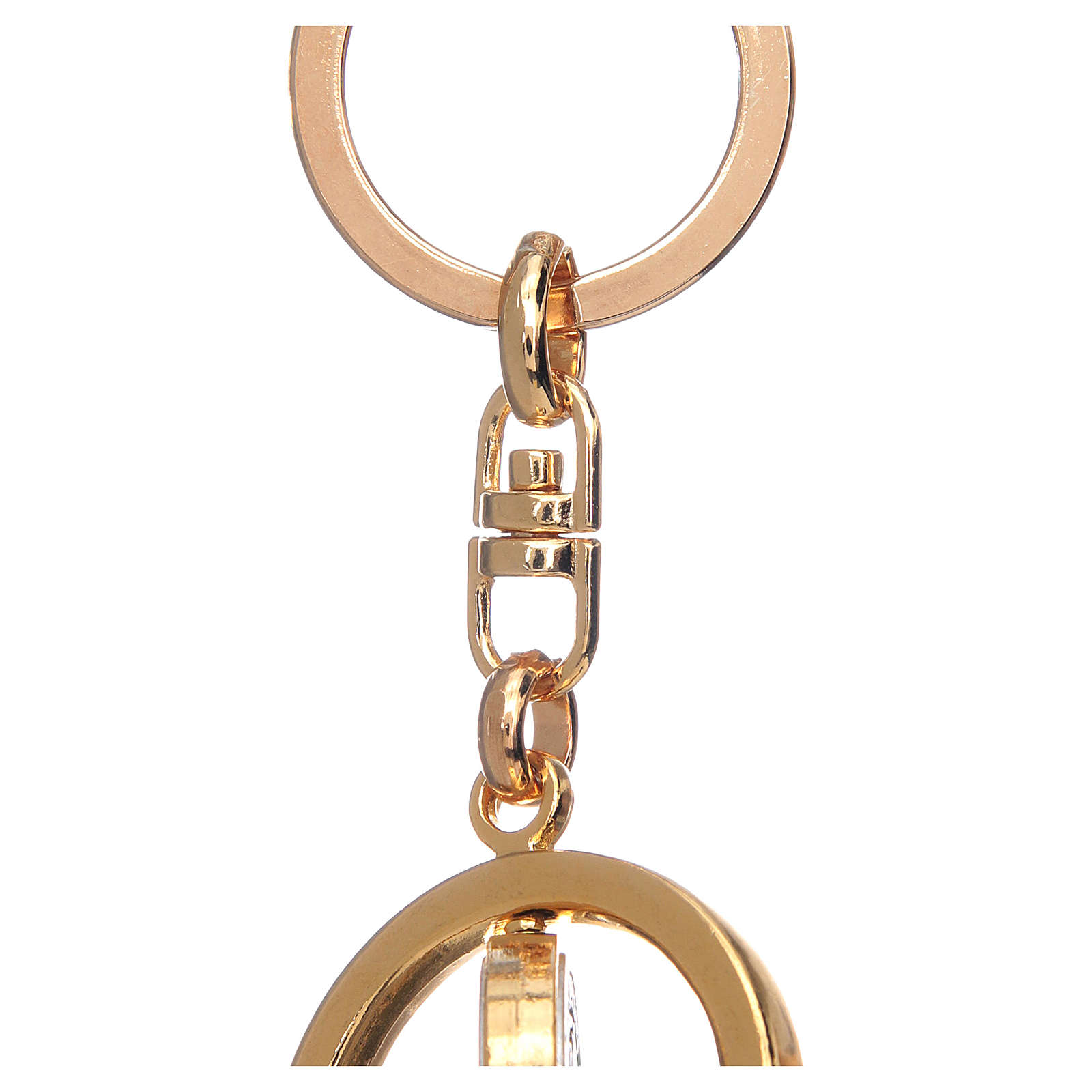 St Benedict revolving medal golden key ring 3