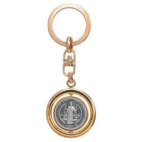 St Benedict revolving medal golden key ring