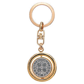 St Benedict revolving medal golden key ring s2