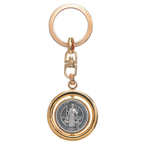 St Benedict revolving medal golden key ring 1