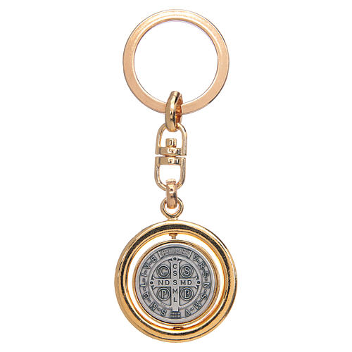 St Benedict revolving medal golden key ring 2