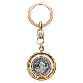 Llavero giratorio dorado medalla de San Benito s1