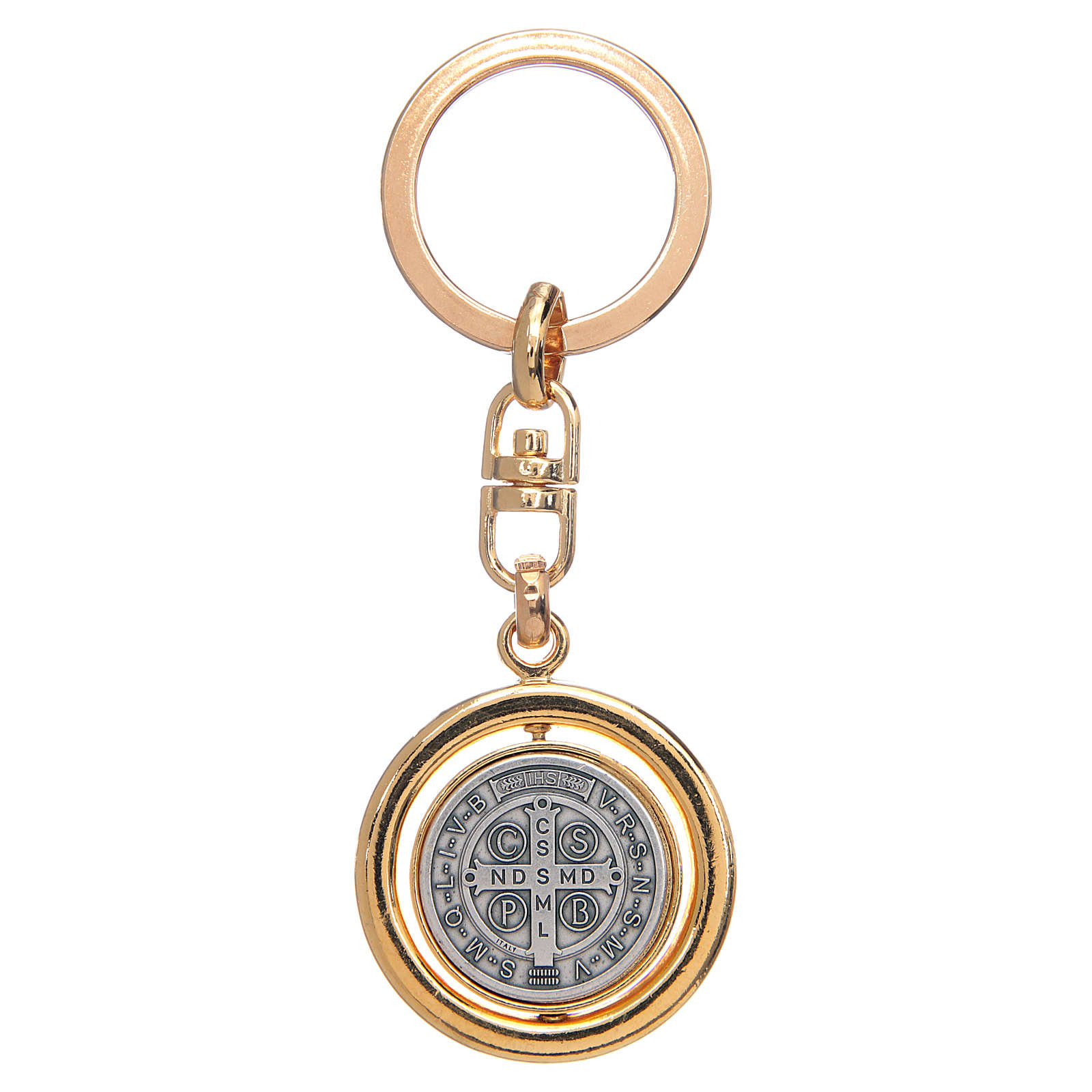 Chaveiro dourado giratório medalha São Bento 3