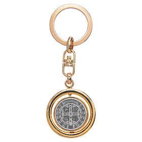 Chaveiro dourado giratório medalha São Bento s2