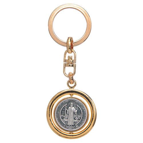 Chaveiro dourado giratório medalha São Bento 1