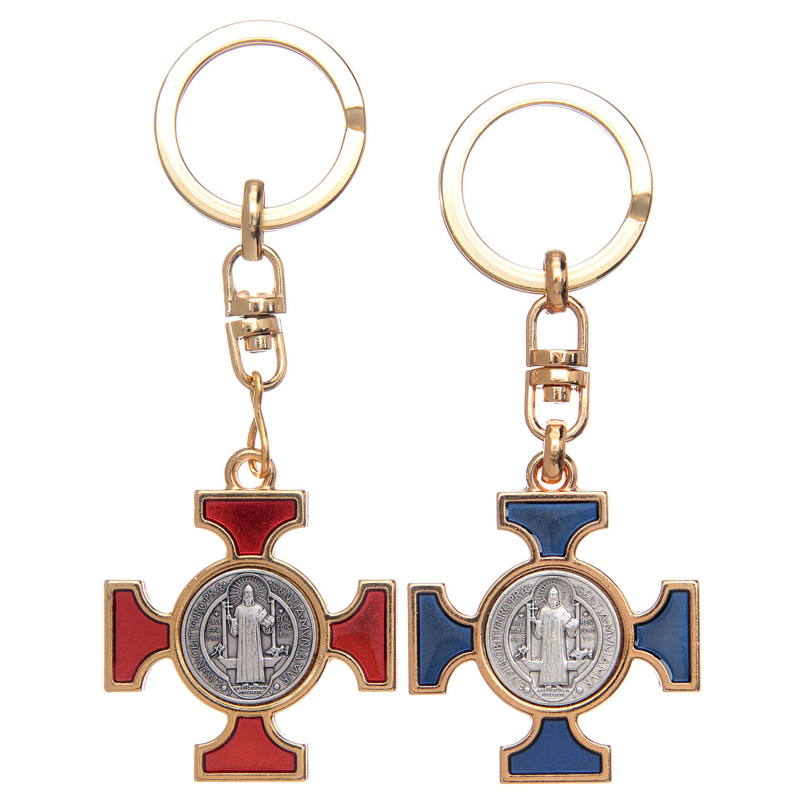 Celtic keychain in golden metal, Saint Benedict 3